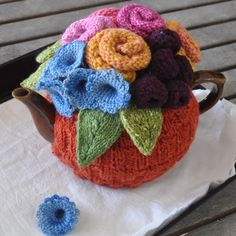 knitted tea cozy in autumn colors
