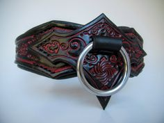 Vampire Goth Leather Collar Necklace | Goth Collar, Black and Red BDSM Collar,Goth Necklace, Sub Collar, Slave Collar, Submissive Collar by DarkNatureAesthetics on Etsy
