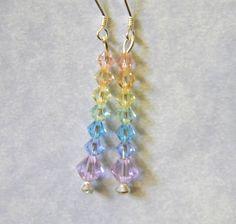 8 & 6mm pastel crystal bicone drop earrings on clear crystal headpins.