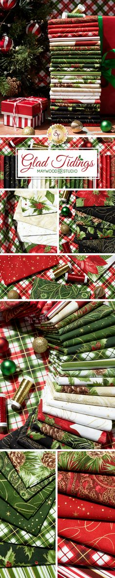 Glad Tidings Metallic is a Christmas fabric collection by Maywood Studio. It features gorgeous holiday prints in shades of red, green, cream, and black. Collection includes FQ sets, precuts and yardage. We also have beautiful quilt kits available in this collection! Christmas Fabric, Christmas Crafts, Christmas Decorations, Quilt Block Patterns, Pattern Blocks, Green Cream, Red Green, Maywood Studio, Chiffons