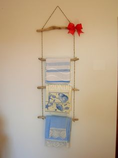 Towel rail rack ladder wall mount wood driftwood bathroom decor bar shabby hanging holder rope design gift rustic Christmas her hanger home  by H2ONDE on Etsy https://www.etsy.com/listing/274874736/towel-rail-rack-ladder-wall-mount-wood