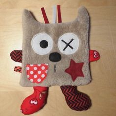 Doudou chat plat - taupe rouge