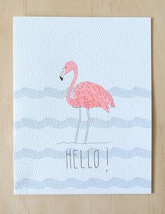 Flamingo Hello Card