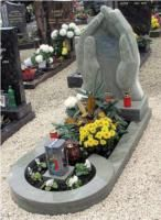 Hand Care Style Grey Color Granite Carving Tombstone