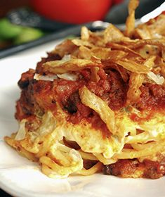 Creamy Spaghetti Casserole--  Pinner says: This is a go-to meal at my house.  I use a red pepper, or sometimes omit it.  This always turns out amazing.  I have made it with regular spaghetti, whole wheat, and spaghetti squash.