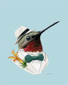 Hummingbird art print by Ryan Berkley 5x7 by berkleyillustration
