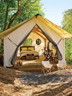 The magazine cover that introduced me to the concept of glamping Outdoor Fun, Outdoor Camping, Outdoor Spaces, Camping Glamping, Luxury Camping, Tent Living, Outdoor Living, Wall Tent, Luxury Tents