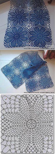 """Шаль """" ночные орхидеи"""": Дневник группы """"Вязание"""" - Страна Мам Crochet Placemats, Crochet Doily Patterns, Crochet Art, Crochet Squares, Crochet Granny, Filet Crochet, Crochet Motif, Crochet Crafts, Crochet Doilies"""