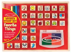 This set of 26 wooden stamps features all sorts of favorite things, from pets and wild animals to sweets and party treats! Also included are five colored pencils, a four-color stamp pad with washable ink, and a sturdy wooden box for storage.