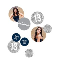 Graduation Party Decorations -- Glam Grad Silver Photo Table Decor. Personalize these graduation party decorations and use them for table toppers, centerpieces, garland and more!