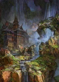 Waterfalls by ~SnowSkadi  Digital Art / Drawings / Landscapes & Scenery