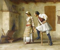 View FLIRTATION By Theodoros Rallis; oil on canvas; Access more artwork lots and estimated & realized auction prices on MutualArt. Greek Paintings, European Paintings, Russian Painting, 10 Picture, Greek Art, Couple Art, Old Master, Impressionism, Mythology