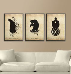 Literal Superhero Silhouettes - The 'Spiderman Batman and Captain America Poster' Set (GALLERY) Captain America Poster, Superhero Poster, Superhero Room, Superhero Canvas, Superhero Movies, Logo Super Heros, Decoration Inspiration, Silhouette Art, Oeuvre D'art