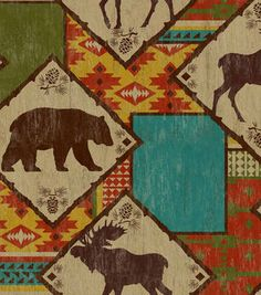 Novelty Cotton Fabric-Northwoods Bearmoose Ctn