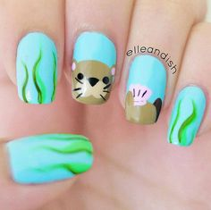 Sea otter nails! I haven't posted animal nail art in a while so I hope you like it! I went to Monterey recently and posted an Instagram video of one in the wild and a few people said it was t…