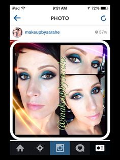 Teal and black makeup. For list of products, just ask!!