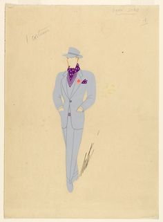 Design is fine. History is mine. — Erté, illustrating men's fashion, 1947. Via Cooper...