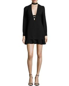 TDCQ5 A.L.C. Faye Stretch Crepe Mini Dress, Black