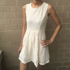 Ivory Lace dress New Ivory Lace dress lined,side zipper.❗️Price is firm.❗️ Dresses Mini