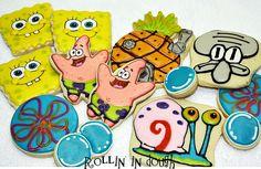 SpongeBob Cookies Patrick Gary Squidward Cookies  by rollinindough, $30.00