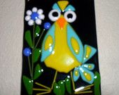 Whimsical Kooky Bird with Flowers Fused Glass Plaque