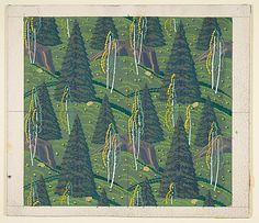 Pine Trees and Birches, Rockwell Kent, c. 1950, Metropolitan Museum of Art. (Wallpaper design? Fabric design?)