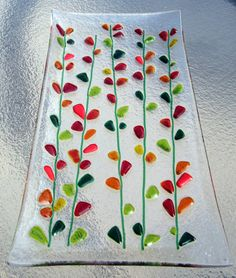 Fused Glass Platter, Blooming Branches in Red, Orange, and Yellow