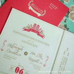 Standard Wedding Invitation Design for Helli & Lita by Wenny Lee Simply vintage chinese traditional concept with tropical red as main theme color Detail of design: Helli-Lita main logo, save the date, content layout, double happinesslogo modification with concept at front and content, location map design