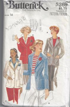 1970s Butterick 5269 vintage sewing pattern Misses by SewVintageCo, $8.00 Women's 1970s blazer with pockets. Size 14