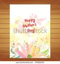 mothers day card. greeting retro watercolor - stock vector