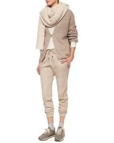 Long-Sleeve Monili-Chain Embroidered Cardigan, Boucle Scarf, Ribbed Layered Turtleneck Tunic & Suede Drawstring Pull-On Pants by Brunello Cucinelli at Neiman Marcus.