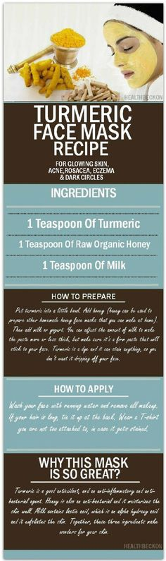 DIY Skin Care Tips : Turmeric Face Mask Recipe for Glowing Skin, Acne, Rosacea, Eczema and Dark Circles - 15 Ultimate Clear Skin Tips, Tricks and DIYs Beauty Care, Beauty Hacks, Beauty Skin, Diy Beauty, Face Beauty, Beauty Dust, Women's Beauty, Beauty Advice, Beauty Trends