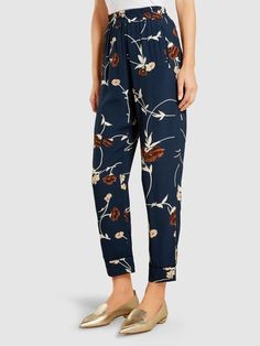 Dalton Printed Crepe Tapered Trousers, Navy Floral Print