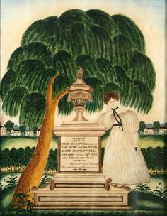 A Rare Pictorial Trove of Family History: The Caldwell-Woods Family Record and Memorials  Attributed to Sally Caldwell Woods (1796-1839)   Joan R. Brownstein - American Folk Paintings