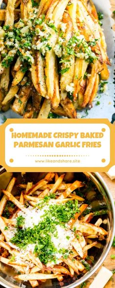 Garlic French Fries, Garlic Parmesan Fries, Baked Garlic, Homemade Fries, Scones Ingredients, Fries Recipe, Food Dishes, Side Dishes, Cooking Recipes