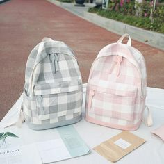 Cute Plaid Pastel Backpacks Material: Canvas SIZE: Item ships within 24 to 48 hours. Buying 2 or more items automatically saves you money on shipping fees. We provide fast and safe shipping world wide! Cute Backpacks For School, Cute School Bags, Stylish Backpacks, Cute School Supplies, Cool Backpacks, College Backpacks, Teen Backpacks, Leather Backpacks, Leather Bags