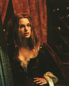 Keira Knightley as Elizabeth Swann in Pirates of the Caribbean, The Curse of the Black Pearl (2003).