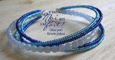 ***Bohème*** Bracelet cinq-5 tours bleu entrelacé : Bracelet par celina-pearl-ma-boite-a-bijoux