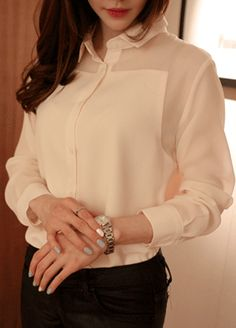 Today's Hot Pick :Sheer Yoke And Sleeve Button Down Shirt http://fashionstylep.com/SFSELFAA0012400/cys1214en/out An all-around, easy to match button down shirt is a must have for the working girl. It has a basic shirt collar with buttons down the front and long sleeves with buttoned cuffs. The sleeves and the yoke are sheer and the piece fits loosely. Can be worn with a pair of skinny pants and pumps.