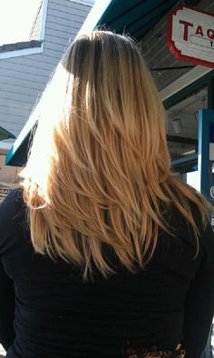 Long straight blonde with dark roots and long layers hairstyle--> maybe with longer layers so it can all be pulled back into a | http://girl-hairstyle-gennaro.blogspot.com