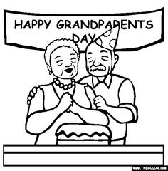 celebrating grandparents day online coloring page