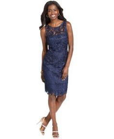 Adrianna Papell Sleeveless Lace Sheath | macys.com