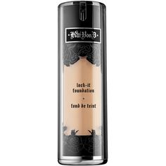 Kat Von D Lock-It Tattoo Foundation (585 MXN) ❤ liked on Polyvore featuring beauty products, makeup, face makeup, foundation, kat von d foundation, hydrating foundation, moisturizing foundation, spray foundation and paraben free foundation