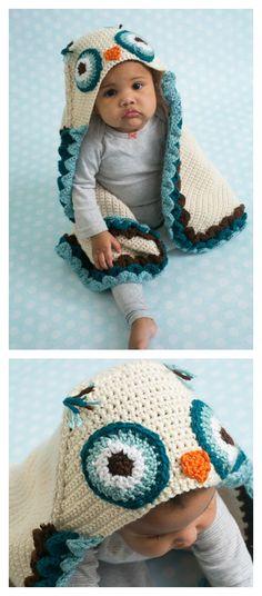 Crochet Owl Hooded Baby Blanket Pattern