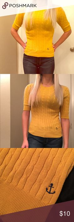 "Gold Half-Sleeve Sweater with Anchor Gold half-sleeve sweater from forever 21, with cute blue anchor detail. Size small. I am 5'4"" and 115lbs and the fit is tight on me. Great condition, worn only a couple times. Heritage Sweaters Crew & Scoop Necks"