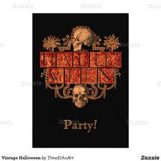 """Vintage Halloween 5"""" X 7"""" Invitation Card"""