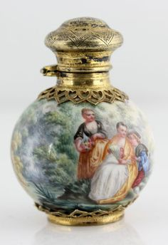 Antique Museum Quality French Gilt Silver Enamel Enameled Perfume Scent 1838 | eBay