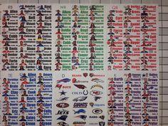 2016 Fantasy Football Draft Kit Full Color Photo Player Labels XL Board Rookies #ProDraftKits