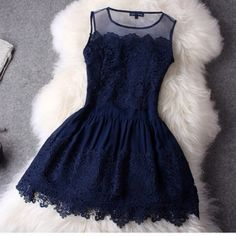 Short navy blue lace dresses, short.. #Dress #buyable