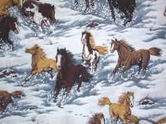 Horses in snow fabric - 1 yard - Springs Creative Products. $6.00, via Etsy.